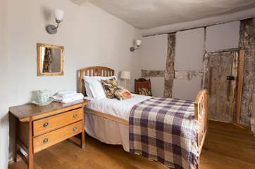 The single bedroom reallly celebrates the history of Castle House with its ancient exposed wall beams.
