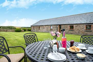 The Old Byre has a really large garden, a great place to enjoy some games or relax and enjoy a delicious cream tea.