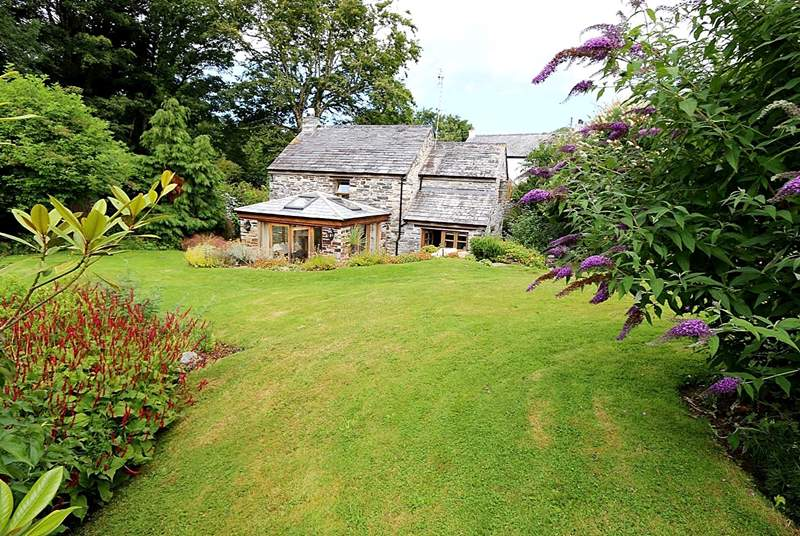 Looking back at the cottage from the very spacious garden.