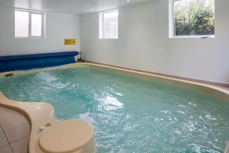 The indoor heated pool. There's a wave boost at one end of the pool to swim against.