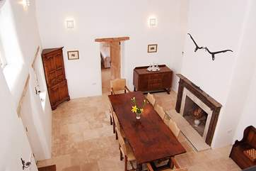A bird's eye view of the great hall from the gallery at the top of the stairs.