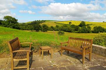 The garden area looks right down along the valley - a completely unspoilt view.