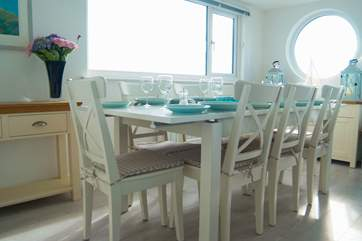 The dining-area has superb views along the coast.