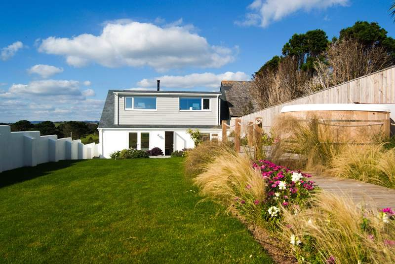 The whole of the first floor of the house comprises the open plan living-room, offering 180 degree sea views.