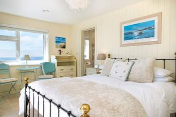 Trelowen has 4 beautifully appointed bedrooms - the view from Bedroom One is sublime
