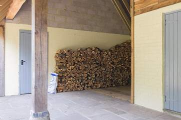 Your log store ! This is a great covered area whicih you can use for your car or for bikes if you decide to bring them. This photo is taken from the front door of the cottage.  This space is dedicated