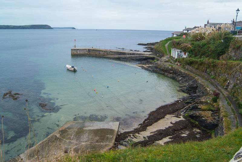 The sheltered harbour at Portscatho, just yards from the cottage (not the view).