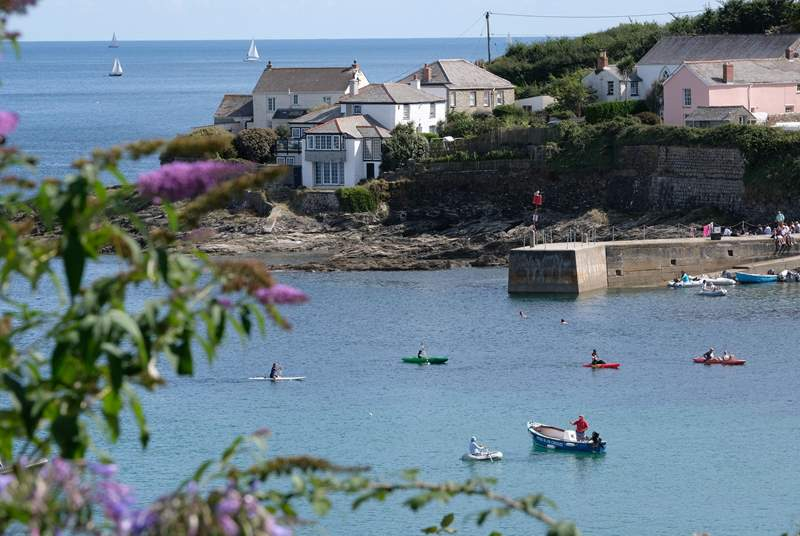 The sheltered harbour at Portscatho, just yards from the cottage (not the view)