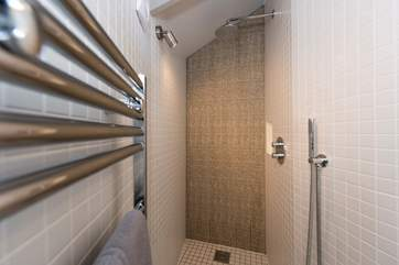 The stylish en suite shower-room.