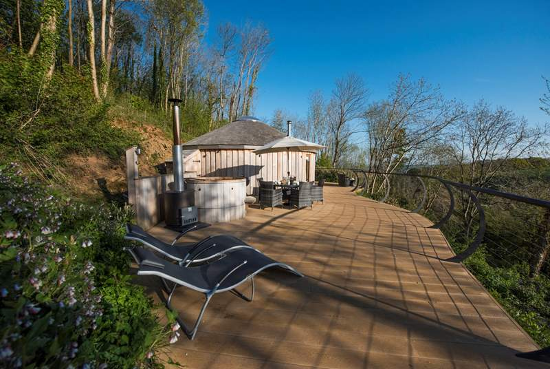 Buzzard is set into the woodland with a huge deck and fabulous views.