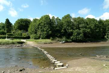 Stepping stones across the river at low tide.
