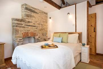 Lovely stonework in the bedroom