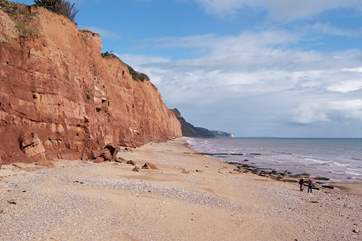 Facing east along the stunning Jurassic Coast towards Dorset, taken from the end of the promenade at Sidmouth.
