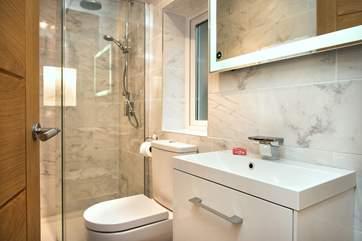 The stylish en-suite shower room
