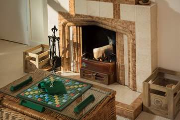 Playing games by the fire, anyone for scrabble?