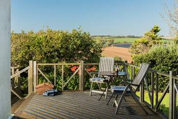 Take a seat on upper decking outside the kitchen and not only do you get fab views but you are close enough to the fridge to top up your drink!