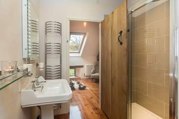 The lovely shower room - plenty of space and an extra large shower cubicle.