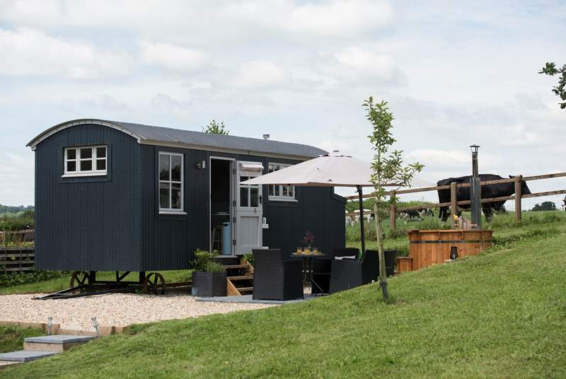 Otter's Holt with its wood-fired hot tub and patio area with fabulous countryside views.