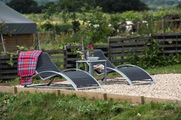 There is plenty of space to relax on the loungers provided and enjoy the sounds of the countryside all around you.