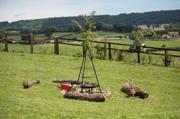 The view from the firepit barbecue looking towards the Owners 'farm - Knightstone Farm in the distance.