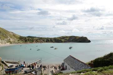 Lulworth Cove gets very busy during the summer months but take a walk along the Jurassic coast to Durdle Door, an iconic landmark.
