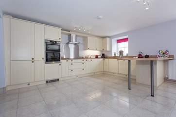 The spacious kitchen area.