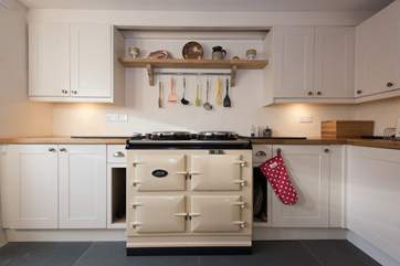 The lovely warming Aga...perfect for holiday cooking and cosy kitchen meals in cooler months.
