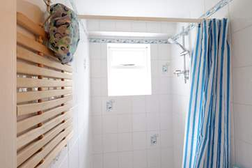 The walk-in shower.