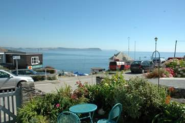 The view from the cottage towards the head of the slipway of the harbour.