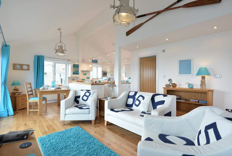 The spacious open plan living space.