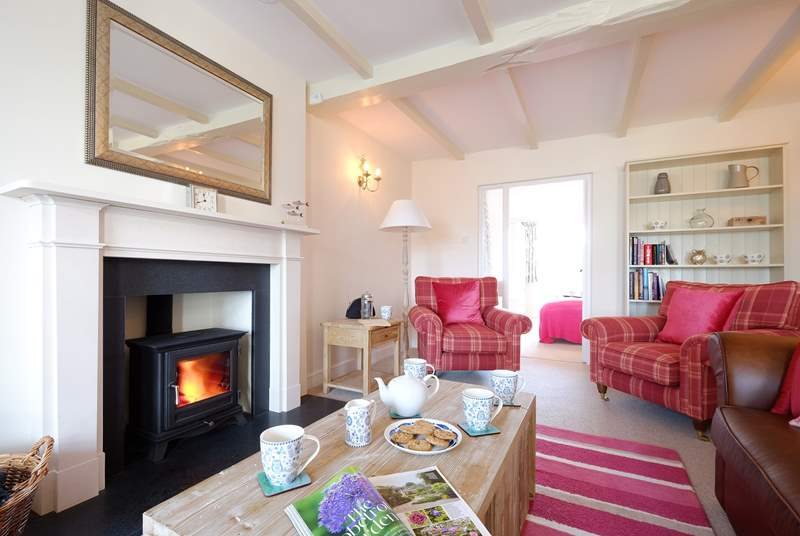 Cosy up in the sitting-room around the wood-burner.