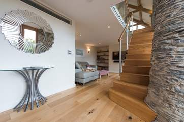 Very stylish entrance hall, with the stairs which lead up to the first floor living areas.