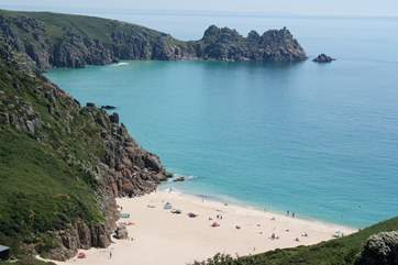 Stunning Porthcurno with its white sand and azure blue seas.