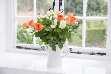 The thick walls create beautiful window sills.