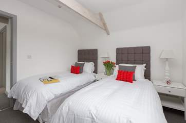 Another view of this bedroom made up as twin beds.