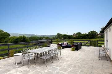 This is a terrace and a half!  A real sun-trap and with fabulous views.