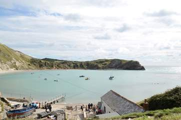 Lulworth Cove is spectacular and busy most of the year round.