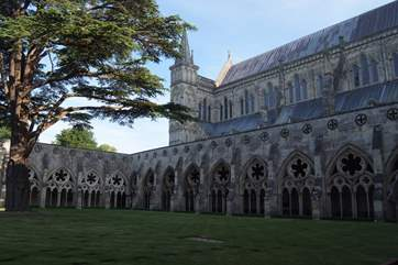 Salisbury Cathedral is a magnificent building, the cloisters and green give a relaxed feel to this small city, about 40 minutes from the barn.