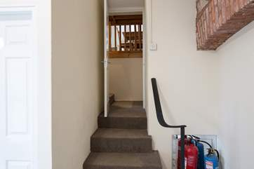 Steps up to the apartment.