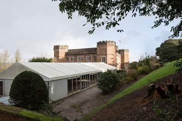 The marquee and main house beyond, occasionally used for weddings.