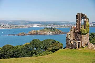 A folly looks out over Plymouth Sound.