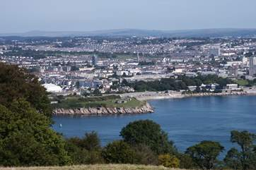 A view from Mount Edgcumbe towards Plymouth.
