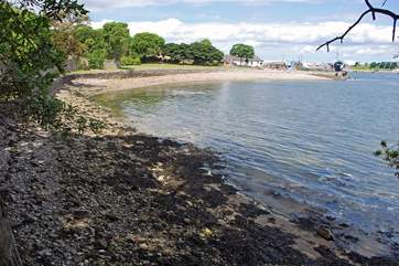 A small beach, looking towards the ferry.