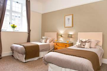 The delightful twin bedded room