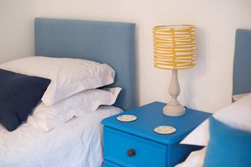 Pops of bright blue add cheerful colour.