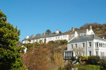 Looking up at Coastguard Terrace from the village (No 9 is on the far left).