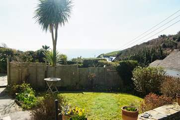 Looking across the neighbouring garden to the sea in the distance.