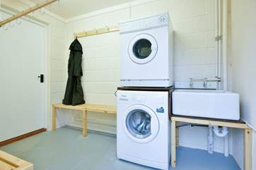 This is the drying/laundry-room - with a separate outside entrance from the patio. Ideal for wet clothes and boots after a long walk in the Quantocks or of course, a wonderful horseback adventure.