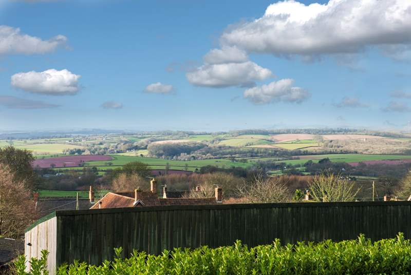 The wide open view from Bashford Lodge, with the hills of Exmoor National Park in the distance.