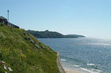 Pendennis Castle sits on the headland, seen here from Gyllyngvase beach.